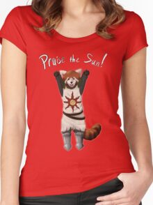 Sun Warrior Red Panda! Women's Fitted Scoop T-Shirt