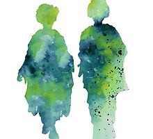 Geisha kimono silhouette watercoplor art print by Joanna Szmerdt