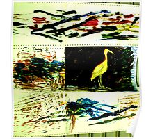 Paint computer paper and bird Poster