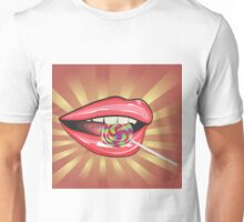 Lips and colorful lollipop Unisex T-Shirt