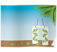 Mojito cocktail on the table Poster
