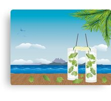 Mojito cocktail on the table 2 Canvas Print