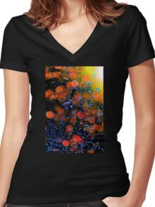 Bubble Blast Abstract Women's Fitted V-Neck T-Shirt