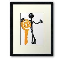 Man with a key - @! Framed Print