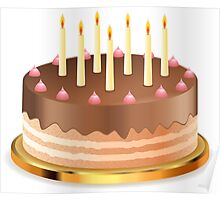 Chocolate cake with candles Poster