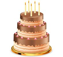 Chocolate cake with candles 3 Photographic Print