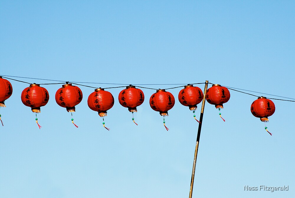red chinese lanterns by Ness Fitzgerald