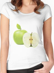 Green apple and half of apple  Women's Fitted Scoop T-Shirt