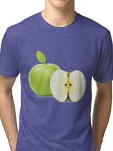 Green apple and half of apple  Tri-blend T-Shirt