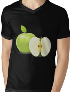 Green apple and half of apple  Mens V-Neck T-Shirt