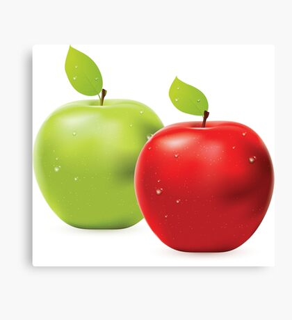Green apple and red apple Canvas Print