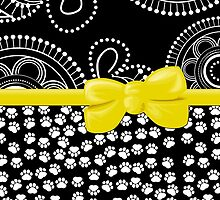 Ribbon, Bow, Dog Paws, Circles - White Black Yellow by sitnica