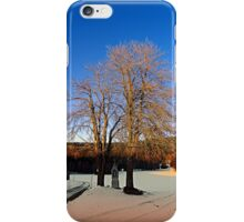 Cross with guardian trees in winter wonderland | landscape photography iPhone Case/Skin