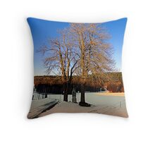 Cross with guardian trees in winter wonderland | landscape photography Throw Pillow