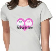 Believe in Love! Cute Yetis Womens Fitted T-Shirt