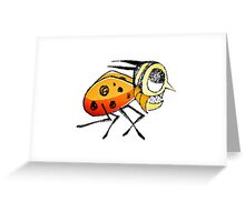 Funny Bug Running Hand Drawn Illustration Greeting Card