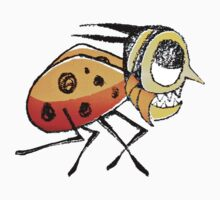 Funny Bug Running Hand Drawn Illustration by DFLC Prints