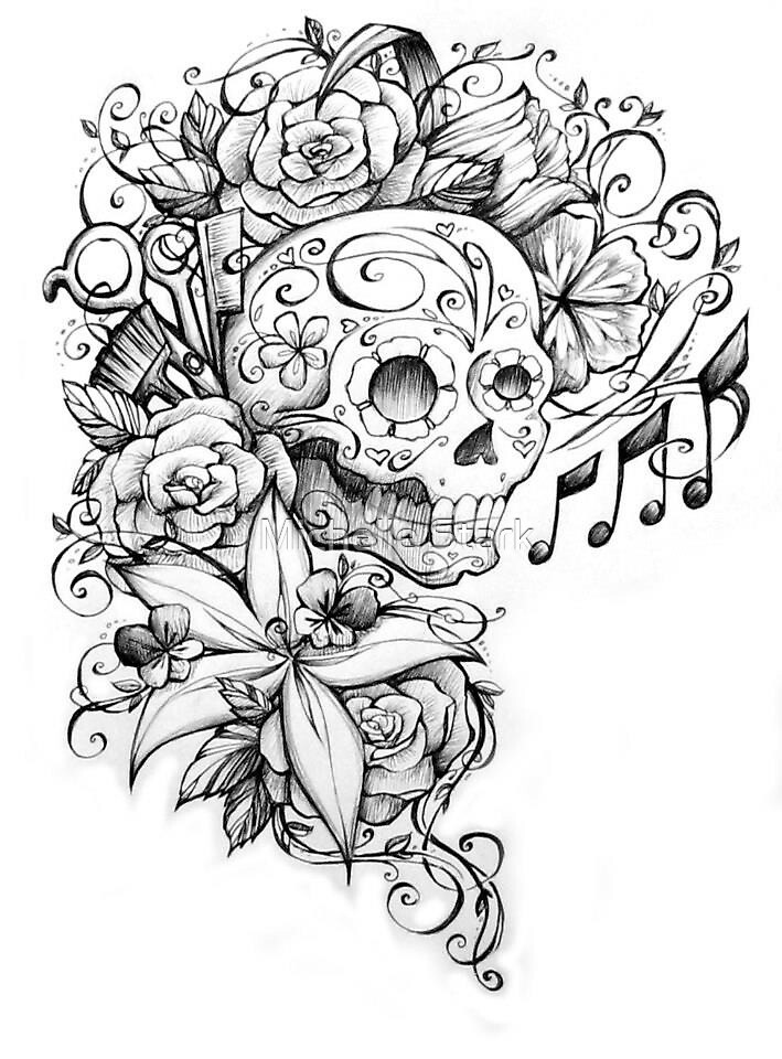 """Sugar Skull with Flowers and Scissors"" by michellediann ..."