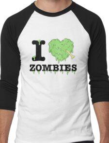 I Love Zombies Men's Baseball ¾ T-Shirt