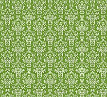 French Damask, Ornaments, Swirls - Green White by sitnica