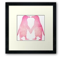 Cute pink watercolor penguins holding hands Framed Print