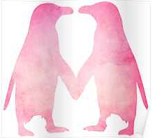 Cute pink watercolor penguins holding hands Poster