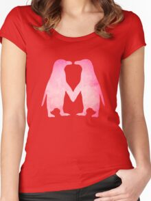 Cute pink watercolor penguins holding hands Women's Fitted Scoop T-Shirt