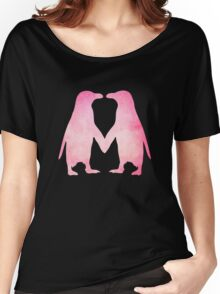 Cute pink watercolor penguins holding hands Women's Relaxed Fit T-Shirt