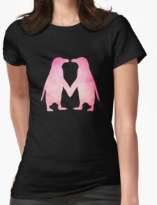 Cute pink watercolor penguins holding hands Womens Fitted T-Shirt