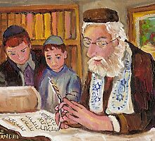 PAINTINGS OF JEWISH CULTURE THE TORAH LESSON  by Carole  Spandau