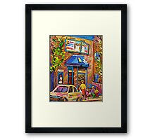 CANADIAN CULTURE PAINTINGS OF BAGEL SHOPS IN SUMMER BY CANADIAN ARTIST CAROLE SPANDAU Framed Print