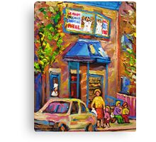CANADIAN CULTURE PAINTINGS OF BAGEL SHOPS IN SUMMER BY CANADIAN ARTIST CAROLE SPANDAU Canvas Print