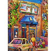 CANADIAN CULTURE PAINTINGS OF BAGEL SHOPS IN SUMMER BY CANADIAN ARTIST CAROLE SPANDAU Photographic Print