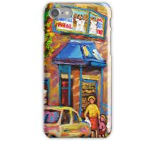 CANADIAN CULTURE PAINTINGS OF BAGEL SHOPS IN SUMMER BY CANADIAN ARTIST CAROLE SPANDAU iPhone Case/Skin