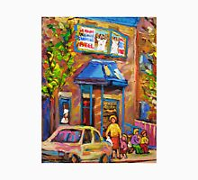 CANADIAN CULTURE PAINTINGS OF BAGEL SHOPS IN SUMMER BY CANADIAN ARTIST CAROLE SPANDAU Unisex T-Shirt