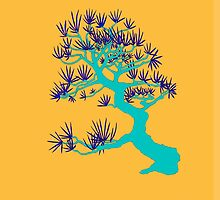Turquoise Pine Bonsai (Orange Background)  by sprucetree
