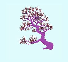 Purple Pine Bonsai (Blue Background)  by sprucetree