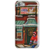 CANADIAN PAINTINGS OF FAIRMOUNT BAGEL AND HOCKEY CULTURE BY CANADIAN ARTIST CAROLE SPANDAU iPhone Case/Skin