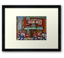 CANADIAN PAINTINGS OF FAIRMOUNT BAGEL AND HOCKEY CULTURE BY CANADIAN ARTIST CAROLE SPANDAU Framed Print