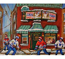 CANADIAN PAINTINGS OF FAIRMOUNT BAGEL AND HOCKEY CULTURE BY CANADIAN ARTIST CAROLE SPANDAU Photographic Print