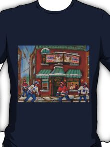 CANADIAN PAINTINGS OF FAIRMOUNT BAGEL AND HOCKEY CULTURE BY CANADIAN ARTIST CAROLE SPANDAU T-Shirt