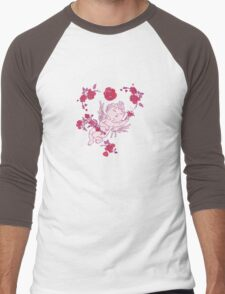 Vintage Pink Valentine Angels with Roses.  Men's Baseball ¾ T-Shirt