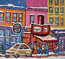 MONTREAL SNOWY DAY AT SCHWARTZ'S DELI CANADIAN ART BY CANADIAN ARTIST CAROLE SPANDAU by Carole  Spandau