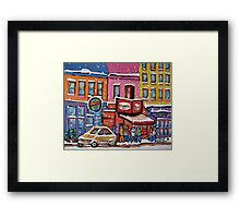 MONTREAL SNOWY DAY AT SCHWARTZ'S DELI CANADIAN ART BY CANADIAN ARTIST CAROLE SPANDAU Framed Print