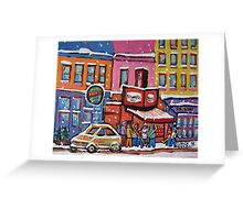 MONTREAL SNOWY DAY AT SCHWARTZ'S DELI CANADIAN ART BY CANADIAN ARTIST CAROLE SPANDAU Greeting Card