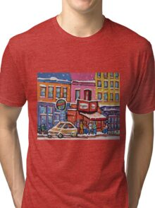 MONTREAL SNOWY DAY AT SCHWARTZ'S DELI CANADIAN ART BY CANADIAN ARTIST CAROLE SPANDAU Tri-blend T-Shirt