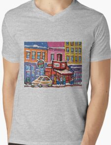 MONTREAL SNOWY DAY AT SCHWARTZ'S DELI CANADIAN ART BY CANADIAN ARTIST CAROLE SPANDAU Mens V-Neck T-Shirt