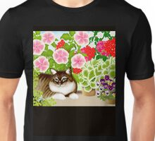 Maine Coon Cat in Patio Jungle Garden Unisex T-Shirt