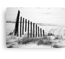 Dune Fence in Snow Canvas Print