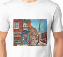 HOCKEY CULTURE PAINTINGS STREET HOCKEY GAME AT THE CORNER STORE CANADIAN PAINTINGS Unisex T-Shirt